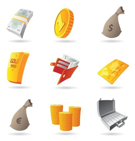 Iconos para el dinero y las finanzas. Ilustración del vector.
