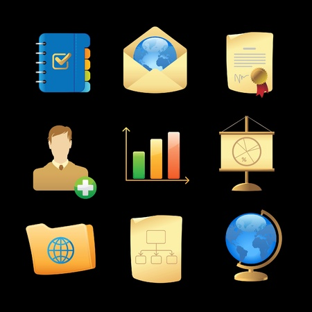 Icons for business metaphors and symbols. Vector illustration. Vector
