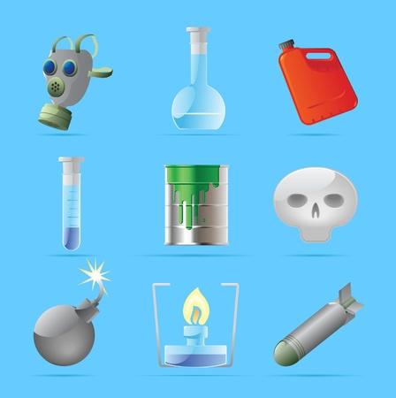 barrel bomb: Icons for dangerous chemistry. Vector illustration. Illustration