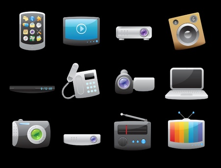 home video camera: Icons for devices. Vector illustration.