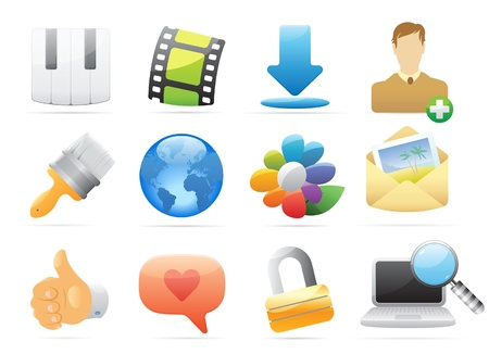 plus icon: Icons for computer and website interface. Vector illustration.