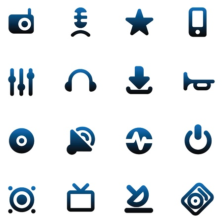 Set of icons for music and sound. Vector illustration. Vector