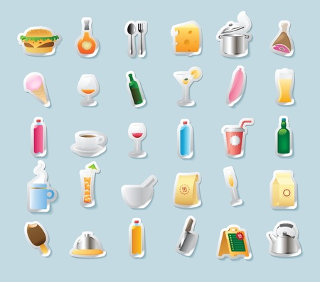 ham sandwich: Sticker button set. Icons for food and drinks. Vector illustration. Illustration