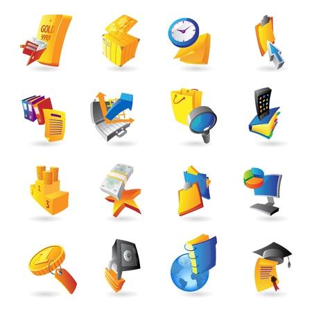 seguridad laboral: Los iconos de negocios y las finanzas. Ilustración del vector. Vectores
