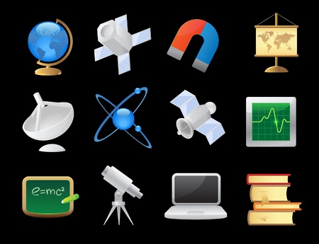 Icons for science and education. Vector illustration. Stock Vector - 12885928