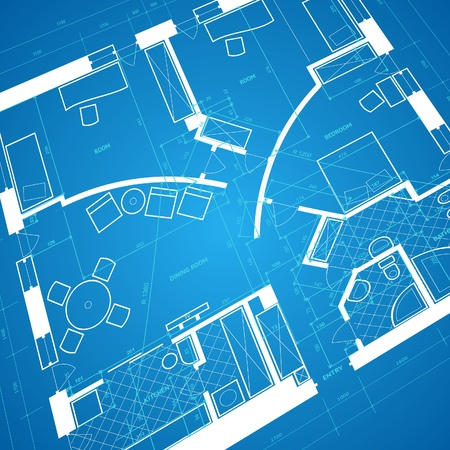 blue print: Abstract blueprint background in blue and white colors. Vector illustration. Illustration