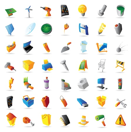 Icons for industry, technology and computers. Vector illustration. Illustration