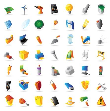 tuercas y tornillos: Los iconos de la industria, la tecnología y las computadoras. Ilustración del vector.