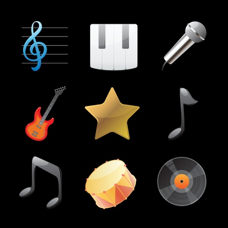 Icons for music. Vector illustration. Vector
