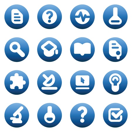 pc icon: Set of icons for science and education. Vector illustration. Illustration