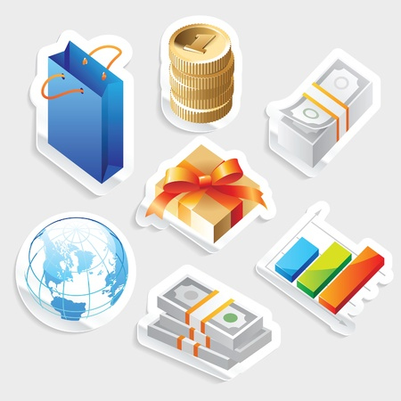 Sticker icon set for retail commerce.  Vector illustration. Stock Vector - 12885978