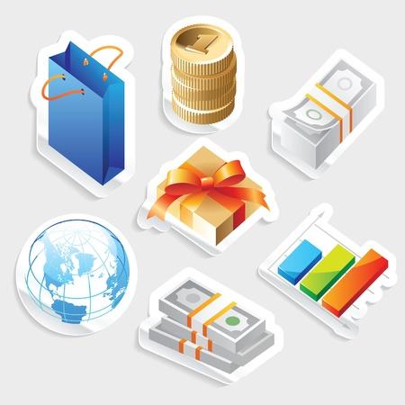 Sticker icon set for retail commerce.  Vector illustration. Stock Vector - 12885978