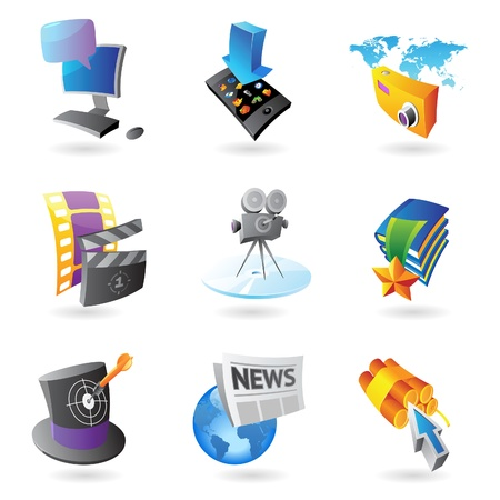 Icons for media, information and entertainment Stock Vector - 13094372