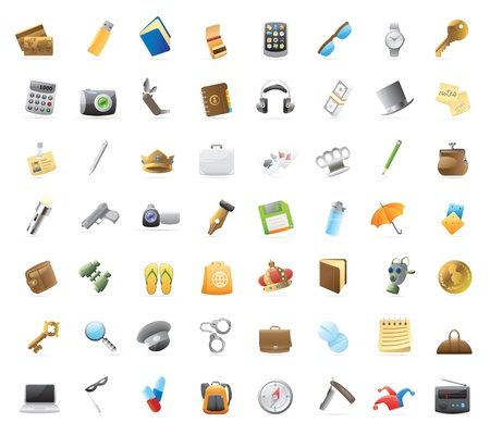 Personal belongings: 56 detailed icons for things you can carry. Ilustração
