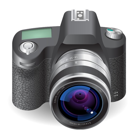 Icon for SLR camera. White background.  Vector