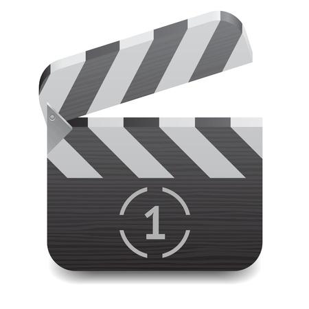 Icon for clapper board. White background. Stock Vector - 13094392
