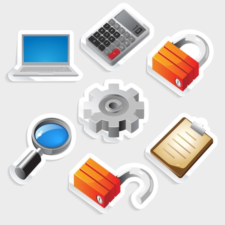 tally: Sticker icon set for computer programs and website interface