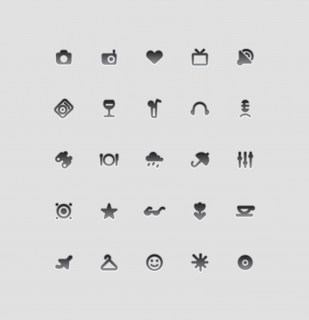Icons for entertainment, travel and leisure. Vector illustration. Illustration