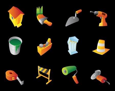 angle grinder: Icons for construction industry, black background. Vector illustration. Illustration