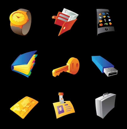 Icons for personal belongings, black background. Vector illustration. Vector