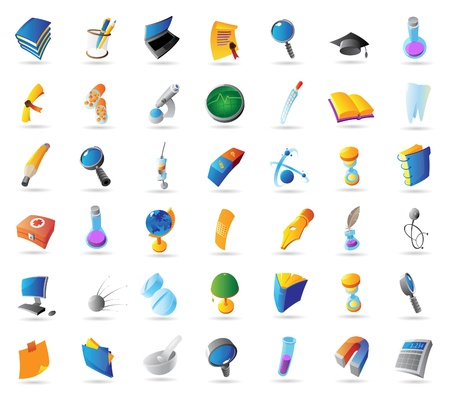 Icons for science, education and medicine. Vector illustration. Illustration