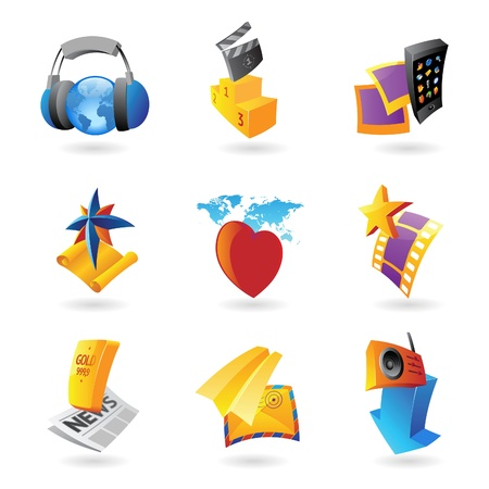 Icons for media, information and entertainment. Stock Vector - 13849871