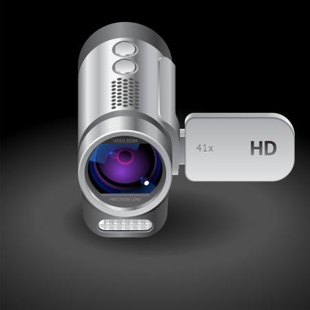 camcorder: Icon for camcorder. Dark background.