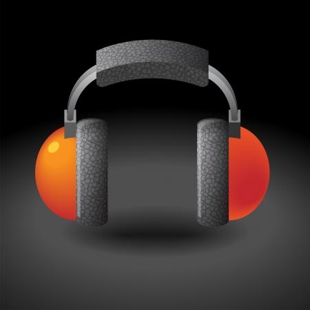 Icon for headphones. Dark background. Vector