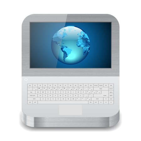 Icon for laptop with Earth on display. White background. Stock Vector - 13853894