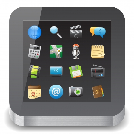 Icon for tablet computer with app icons on display. White background.