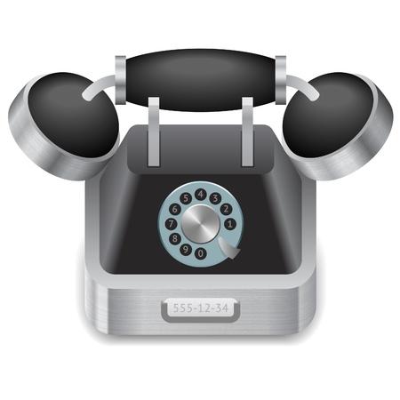 vintage telefoon: Icoon voor vintage telefoon. Witte achtergrond.