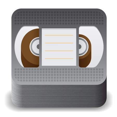 video cassette tape: Icon for video cassette. White background.