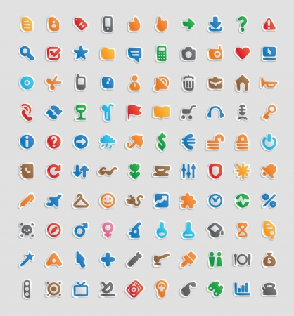 jorney: Sticker button set. 100 multicolored icons for business, entertainment and education.  Illustration