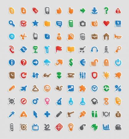 tourismus icon: Sticker-Taste eingestellt. 100 bunte Icons f�r Wirtschaft, Unterhaltung und Bildung. Illustration