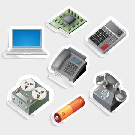Sticker icon set for devices and technology.  Vector