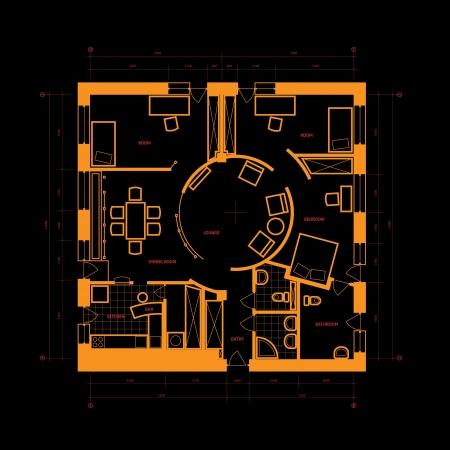 Abstract blueprint background in black and orange colors.  Vector