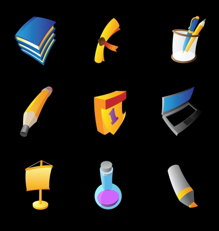 Icons for education on black background. Vector