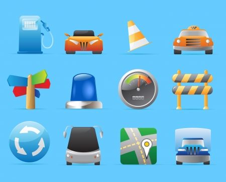 Icons for transportation, cars and roads. Vector