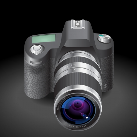 Icon for SLR camera. Dark background Vector