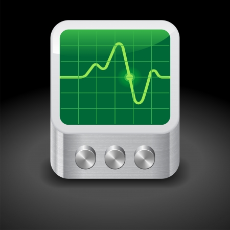 oscilloscope: Icon for oscilloscope. Dark background. Vector saved as eps-10, file contains objects with transparency. Illustration