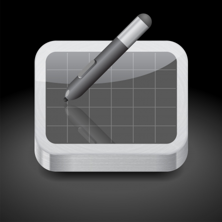 pen tablet: Icon for pen tablet. Dark background. Illustration