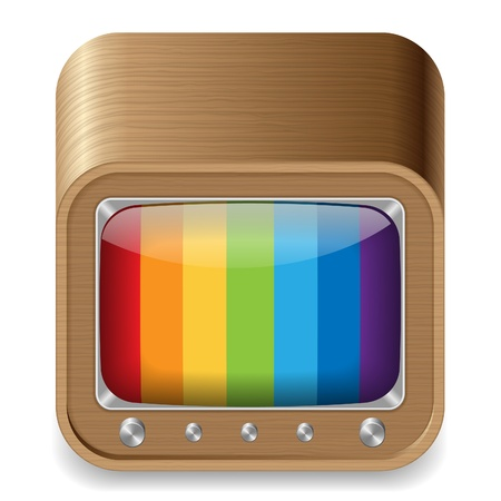 Icon for retro-styled television set in wooden box. White background. Stock Vector - 14202561