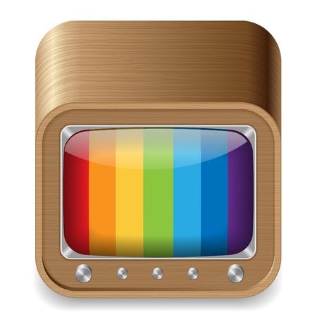 set de television: Icono de estilo retro televisi�n en la caja de madera. Blanco fondo.