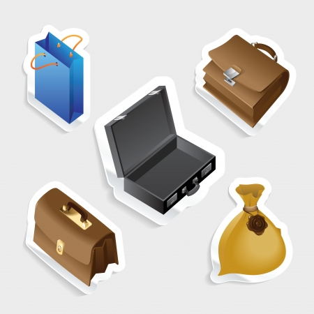 tally: Sticker icon set for bags.  Vector illustration.