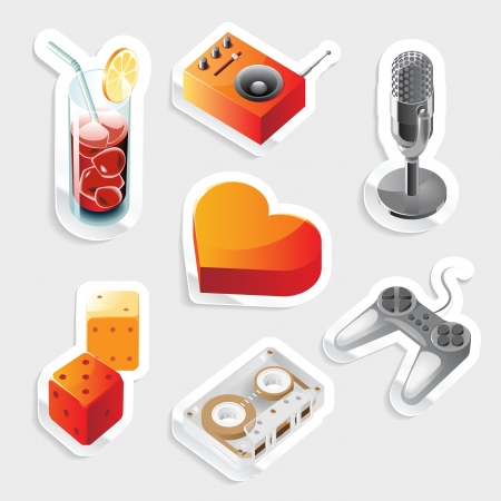 isometry: Sticker icon set for leisure and entertainment.  Vector illustration.