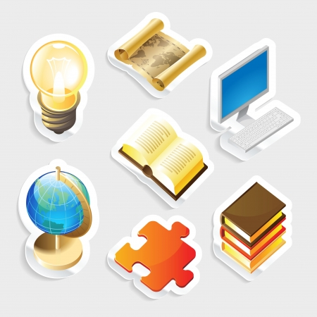 Sticker icon set for education and science Stock Vector - 14202553