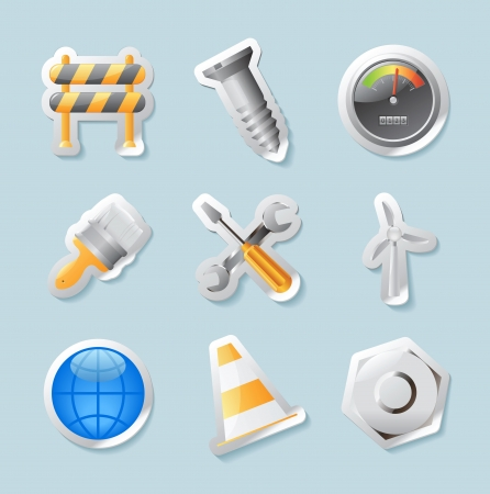 Sticker button set. Icons for industry, construction and energy. Vector illustration. Vector