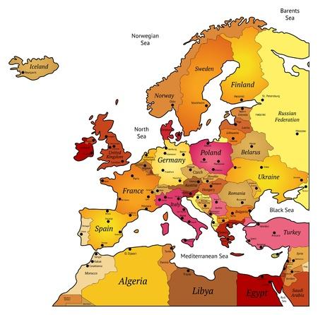 mapa de europa: Mapa de Europa. Ilustraci�n del vector.