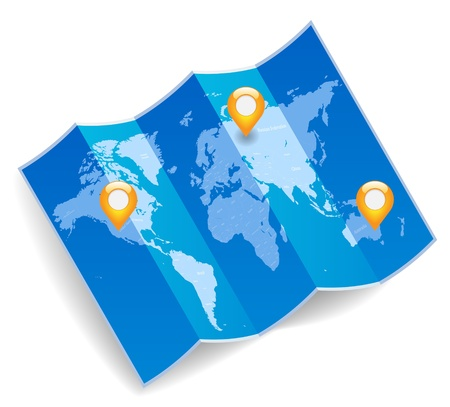 Blue folded world map with gps marks.  Vector