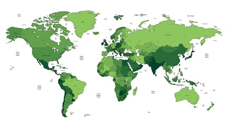World map of green colors  Names, town marks and national borders are in separate layers  Illustration